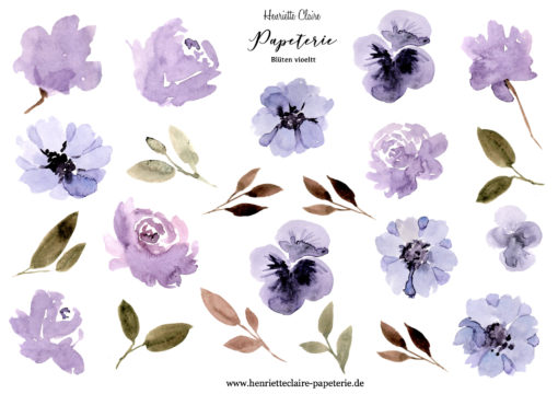 Aufkleber Blüten violett