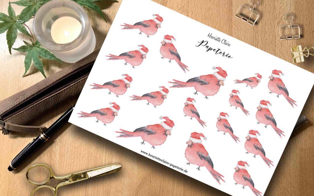 Aufkleber WEIHNACHTEN Vögel Aquarell