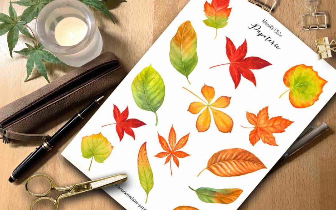 Aufkleber Herbstblätter Aquarell bunt 🍁