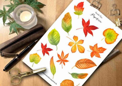 Aufkleber Herbstblätter Aquarell bunt
