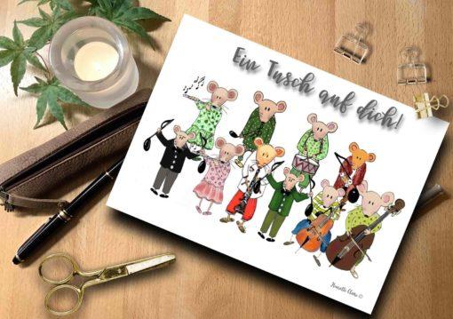 Briefkarte Mäuse Musik