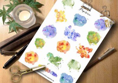 Aufkleber Farbkleckse Aquarell