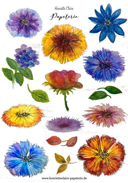 Aufkleber Blumen Blüten Aquarell bunt
