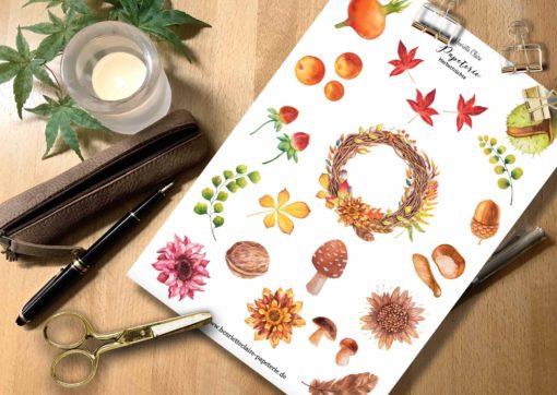 Aufkleber HERBST Blätter Früchte Aquarell