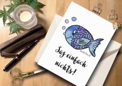 Briefkarte Fisch aquarell