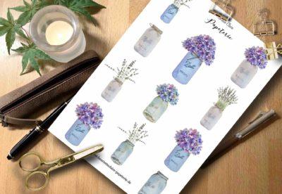 Aufkleber Hortensien Hydrangea in Vasen
