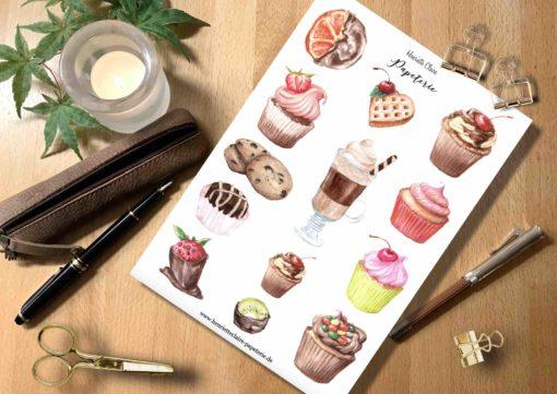 Aufkleber Muffins Kuchen