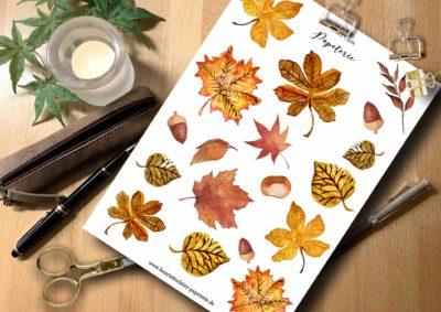 Sticker Herbstblätter Aquarell
