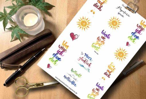 Sticker Sprüche Handlettering