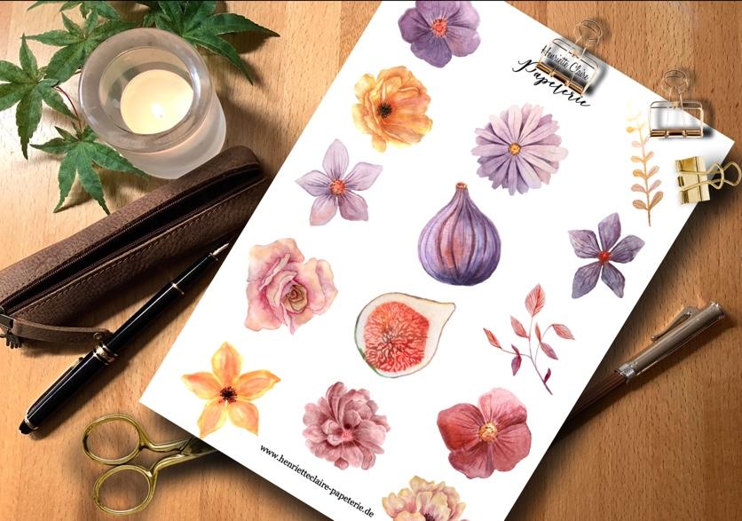 Aufkleber FEIGEN & BLÜTEN violett rosé