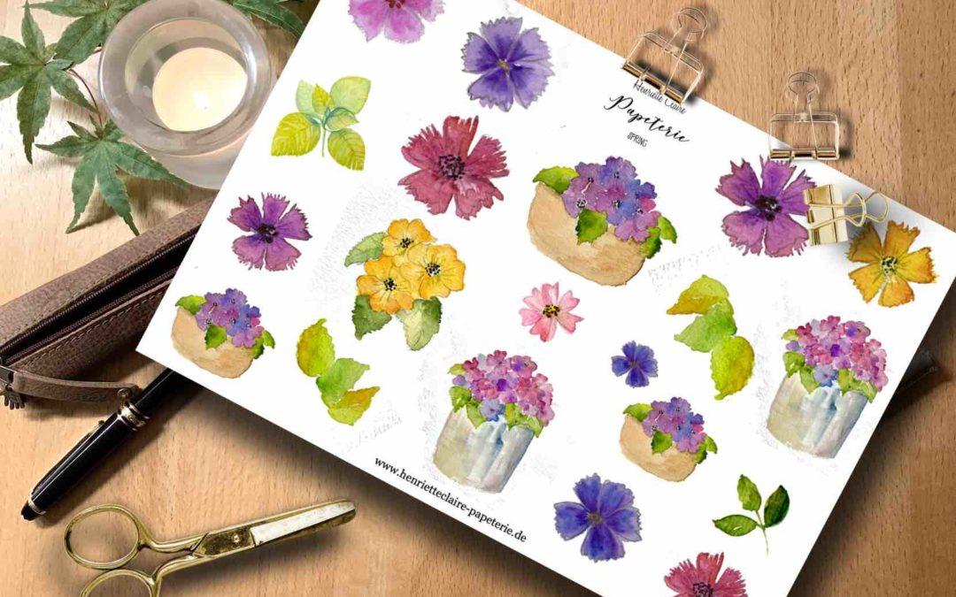 Aufkleber Blumen Topfpflanzen BUNT Aquarell