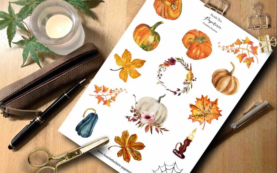 Aufkleber HALLOWEEN Herbst Aquarell